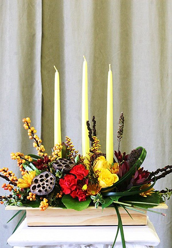 Holiday flowers-glowing with gratitude holiday centerpiece