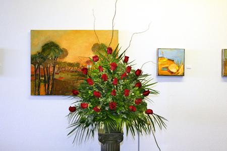 Red rose funeral arrangement
