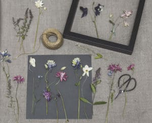 Photo of dried flowers near a frame as a creative use for dried flowers.