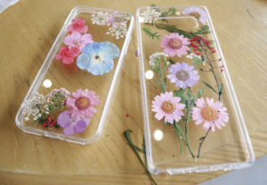 Photo of pressed flowers in a phone case as a creative use for dried flowers.