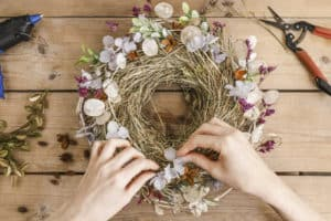 Photo of dried flowers used in in a wreath as a creative use for dried flowers.