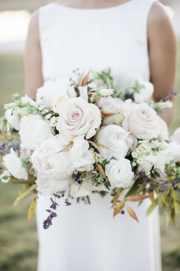 Custom wedding bouquet with white and pink flowers.